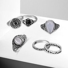 NJ Ethnic Retro 5 Pieces/Set Antique Silver Rings Bohemian Style Jewelry Drop Carved Starfish Knuckles Latest Ring Set