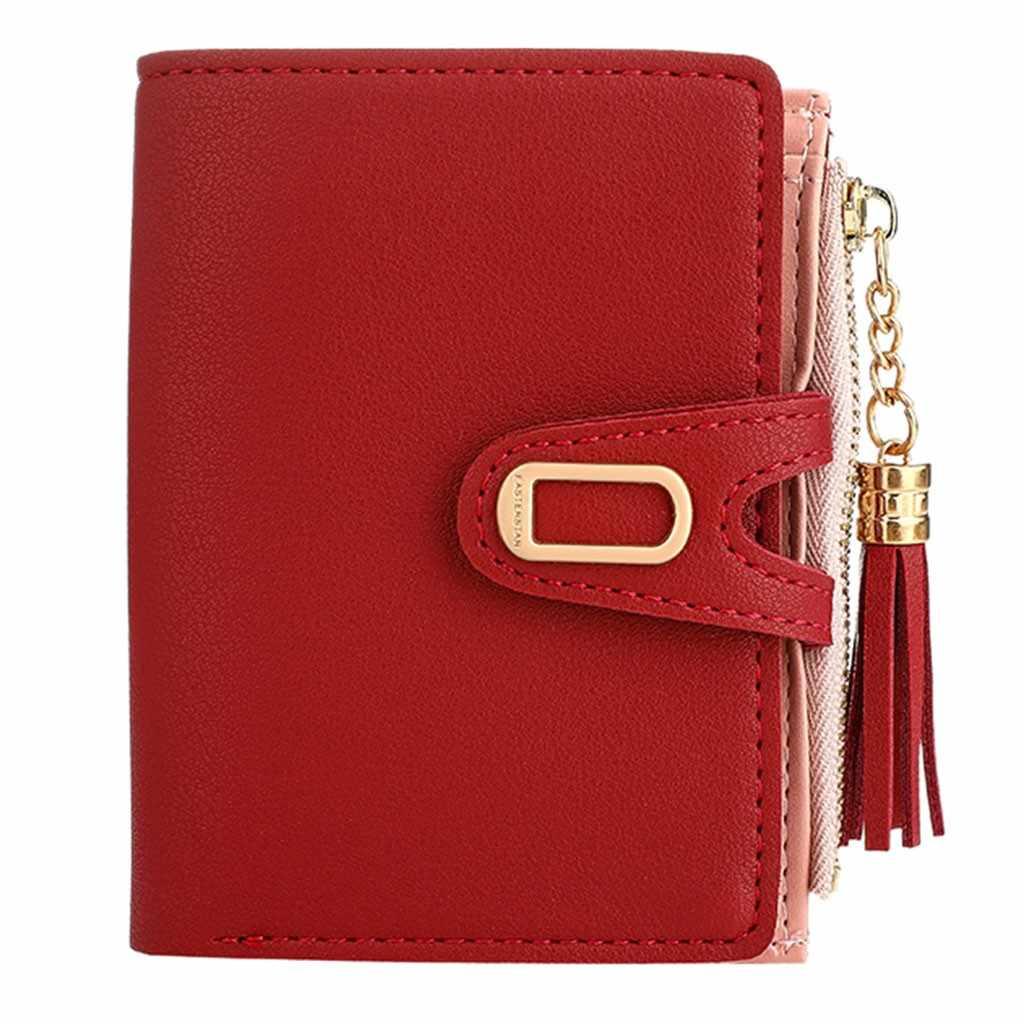 2019 püskül kadın cüzdan küçük sevimli deri cüzdan kadın açık moda Trend düz renk saçaklı kart cüzdan # BA