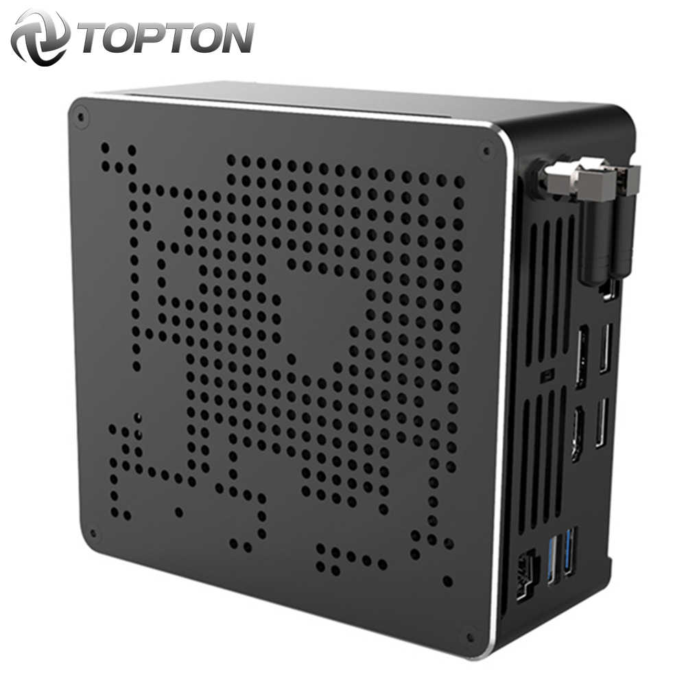 Topton 10th gen nuc intel i7 10750h i9 9880h xeon 2286m mini pc 2 lans win10 2 * ddr4 2 * nvme gaming desktop computador 4k dp hdmi2.0