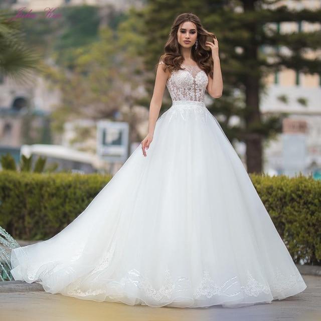 Julia Kui lüks A line düğün elbisesi prenses gelin elbise Sequins kristaller mahkemesi tren