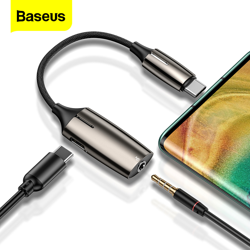 Baseus L60s/L60 USB Type C To 3.5mm Aux Audio Adapter Quick Charging USB C Extension Cable With Light Interface For Smart Phone