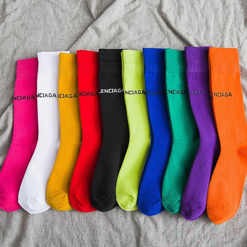 English Letters Socks Women Autumn Winter 10 Colors Available Streetwear Girl Pile Pile Socks Cotton Long High Socks Women