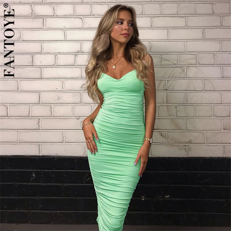 FANTOYE Elegant Mint Ruched Women's Party Dress 2019 New Sexy Backless Bodycon Dress Femme Double Layer Pleated Dresses Vestidos