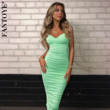 FANTOYE Elegant Mint Ruched Womens Party Dress 2019 New Sexy Backless Bodycon Femme Double Layer Pleated Dresses Vestidos