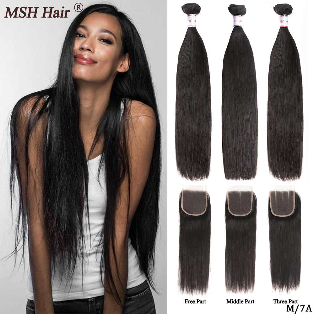 MSH Hair Brazilian Straight  Human Hair Weave Bundles With 4*4  Lace Closure 130% Density Non-Remy Hair Medium Ratio