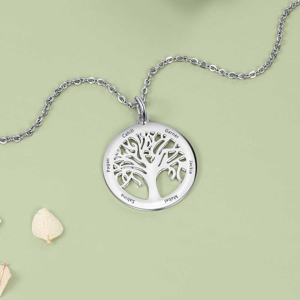 Personalized Terukir Pohon Kehidupan Pedant Kalung Stainless Steel Custom Nama Keluarga Kalung untuk Wanita Ibu Nenek