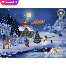 MomoArt 5D Diamond Painting Christmas Full Drill Square DIY Embroidery Landscape Cross Stitch Home Decoration Gift momoart 5d full drill square diamond painting flowers diy diamond embroidery daisy cross stitch home decoration gift