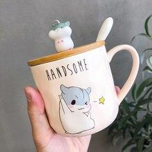 400ML Coreano Creativo Semplice Criceto Tazza Tazza Tazza Del Fumetto Sveglio Cucchiaio con Coperchio Paio di tazze personita