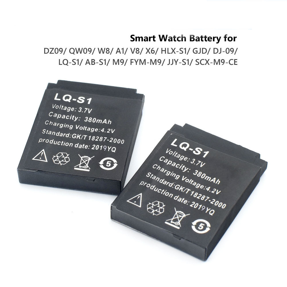1-4pcs Smart Watch Battery Durable SmartWatch LQ-S1 3.7V 380mA Lithium Rechargeable Battery For DZ09 W8 A1 QW09 KSW-S6 RYX-NX9