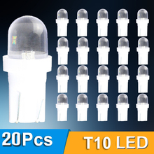20pcs LED W5W T10 194 168 W5W Led Parking Bulb Auto Wedge Clearance Lamp Bright White License Light Bulbs Reading Door Light w5w 10 led 7020 smd car t10 led 194 168 wedge replacement reverse instrument panel lamp white blue bulbs for clearance lights