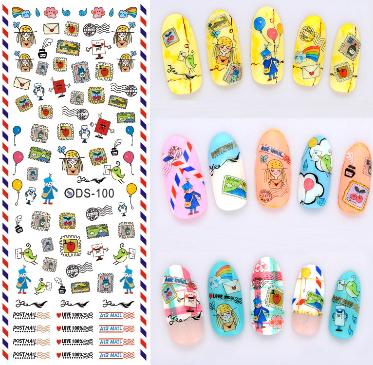 Top Form Brand Manicure Watermarking Adhesive Paper Flower Stickers Nail Sticker Japan Nail Sticker Ds92-102