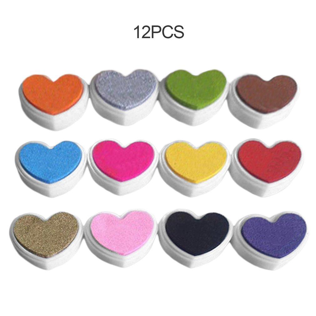 12PCS/SET Heart Shape Inkpad Colorful Fingerpaint Inkpad DIY Ink Pad For Scrapbooking Album Decoration Stamp Inkpad Supplies