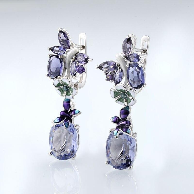 Luxury 925 Silver Enamel Dangle Earrings For Women Purple Crystal Floral Pattern Custom Drops Earrings Elegant Banquet Jewelry