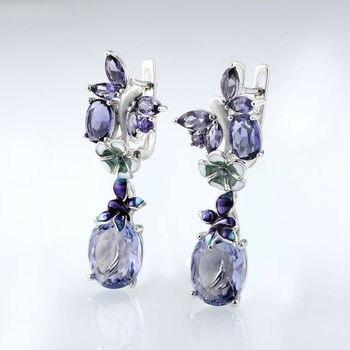 Luxury Bohemia Enamel Dangle Earrings For Women Purple Crystal Floral Pattern Custom Drops Earrings Elegant Banquet Jewelry