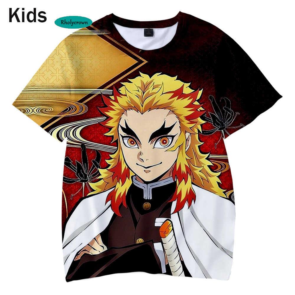 Hot 3D Comic Demone Slayer Bambini T shirt Moda Hip Hop T-shirt Estate Delle Ragazze Dei Ragazzi Adatto 3D Kimetsu no Yaiba T-Shirt per bambini