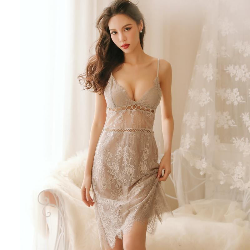 Sexy Night Sleep Dress Nighties For Women Underwear Sling Lace V-Neck Sexy Sleepwear Lingerie Nightgown Nightgowns Women