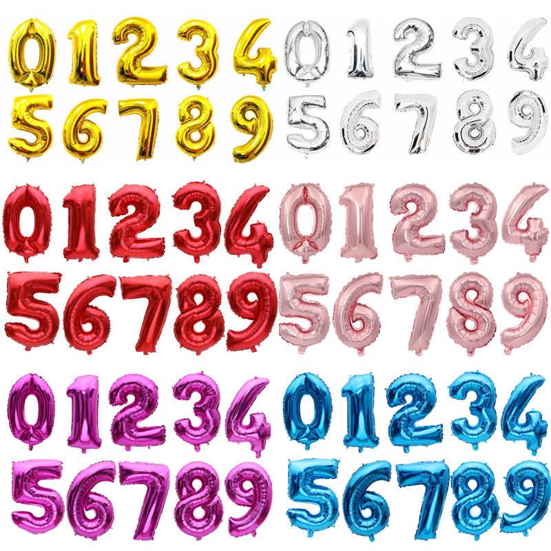 16/32 pouces numéro aluminium feuille ballon rose or argent bleu numérique hélium fête d'anniversaire décoration bébé bain produits globo