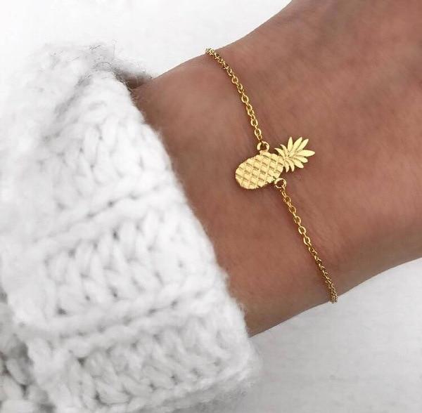 New Pineapple Pendant Chain Bracelet For Women Gold/Silver Color Bohemia Jewelry Simple Bracelets Female