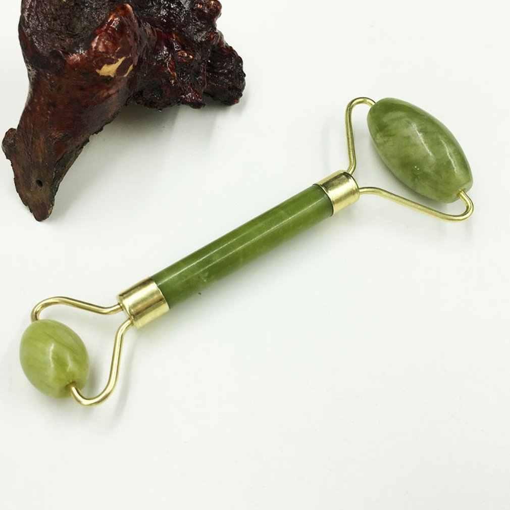 Doble verde esmeralda elíptico rodillo masajeador de ojos cuidado de la salud cara delgada jade belleza masajeador OPP embalaje
