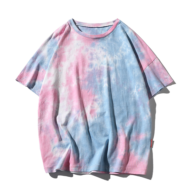 Fashion Tie Dye Hip Hop T-Shirt Men Summer Camouflage Clothes Plus Size Korean Color Short Sleeve Harajuku Oversized T Shirt 5XL
