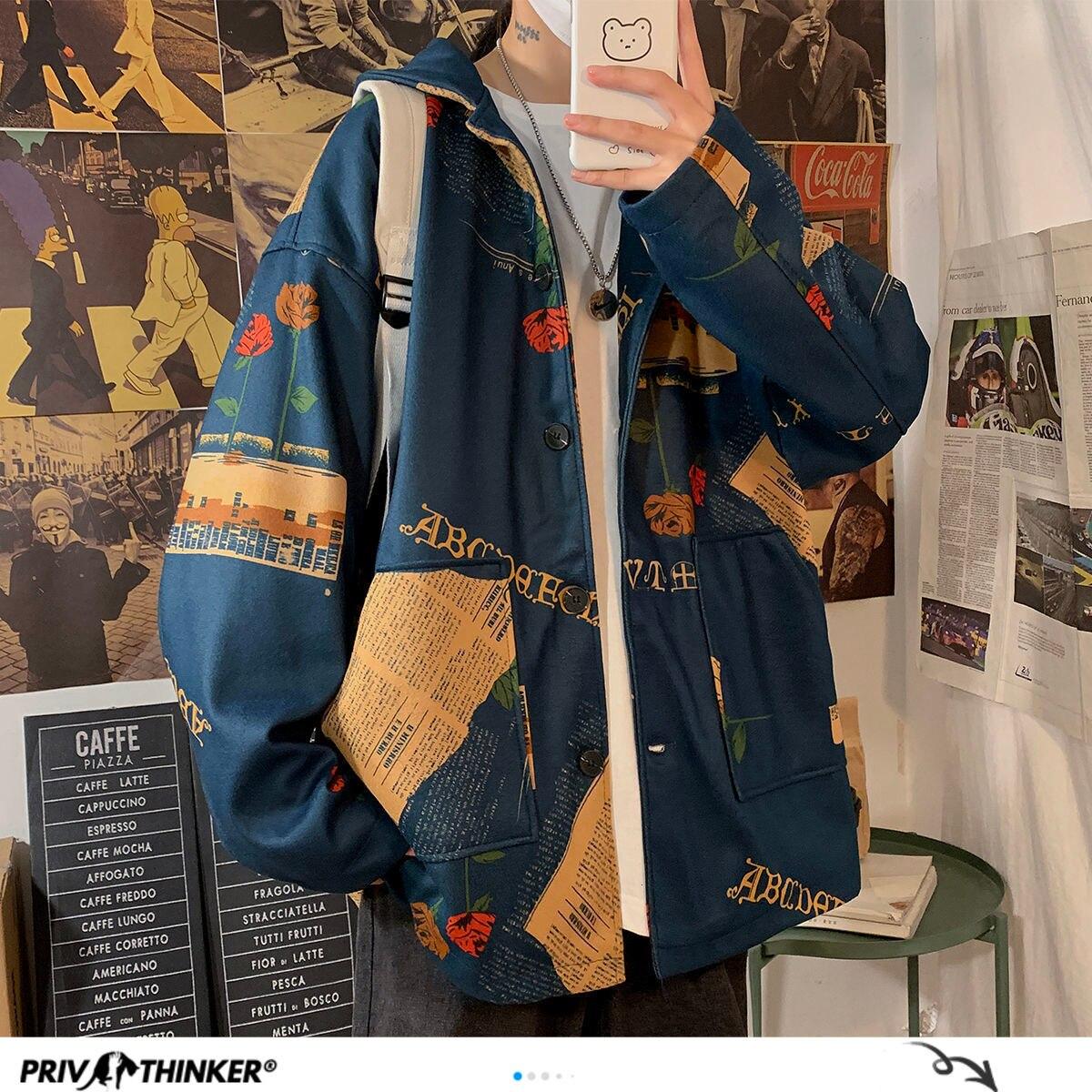 Privathinker Men's Oversized Vintage Jackets Fashion Western Men Casual Loose Outer Wear 2020 Autumn New Men's Hip Hop Jackets