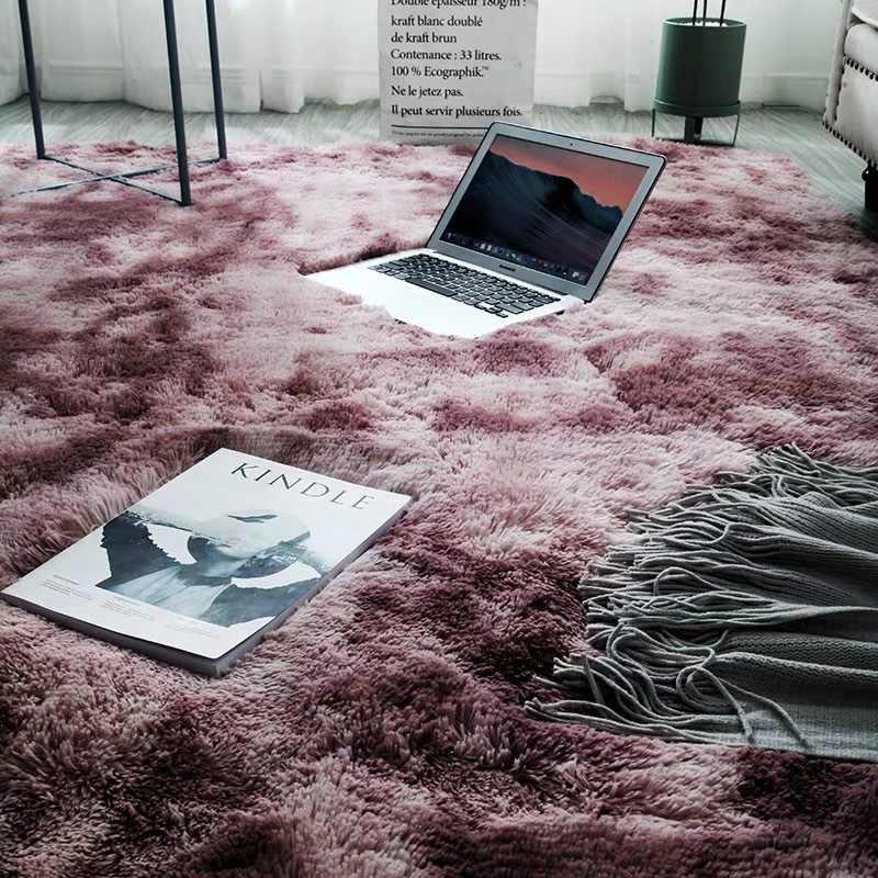 לקשור צביעת שיפוע מלא חנות נורדי שטיח סלון בית חדר פלאפי שאגי ארוך שיער גדול גודל ילדה חדר שינה מיטה למטה שטיח