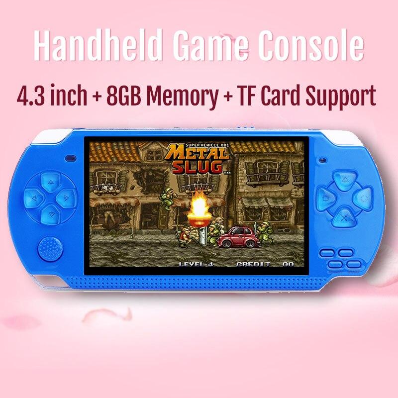 2019 nova handheld game console 4.3 polegadas in-built 8 gb 10000 retro jogos para psp/mp4 vídeo/mp5/câmera/e-book portátil game console