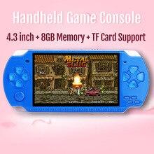 Console de jogos portátil de 4.3 polegadas, 8gb 10000 jogos retrô, mp4, vídeo/mp5/câmera/console portátil de jogos e book,