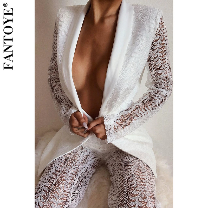 FANTOYE Sexy Hollow Out Lace Two Piece Set Women Blazer And Long Pants Ladies Solid Elegant Club Suits Women Two Piece Outfits