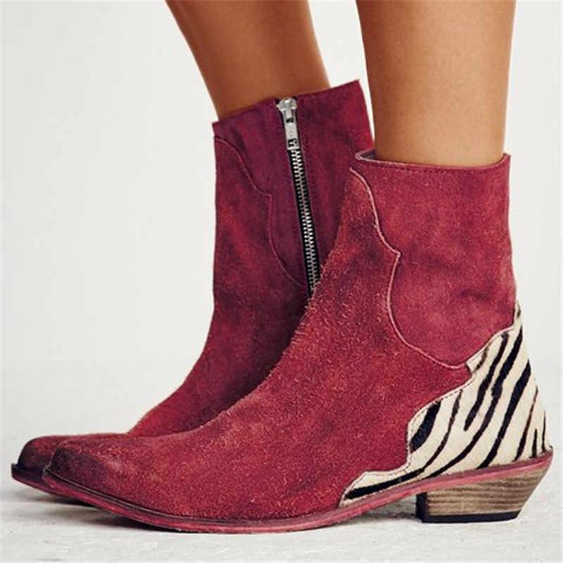 Herbst Niedrigen Chunky Stiefel Retro Cowboy Schuhe Casual Spitz Seite Zip Faux Wildleder Boot Plus Größe 43 XWX7390
