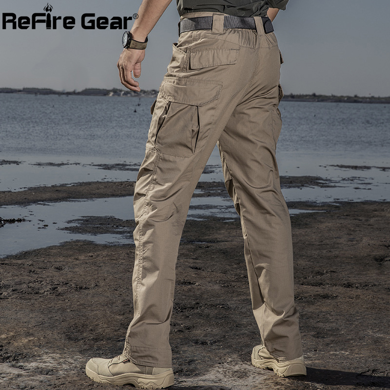 ReFire Gear IX2 Waterproof Military Tactical Pants Men Autumn Casual Rip-Stop Cotton Cargo Trouser Army Combat Multi Pocket Pant