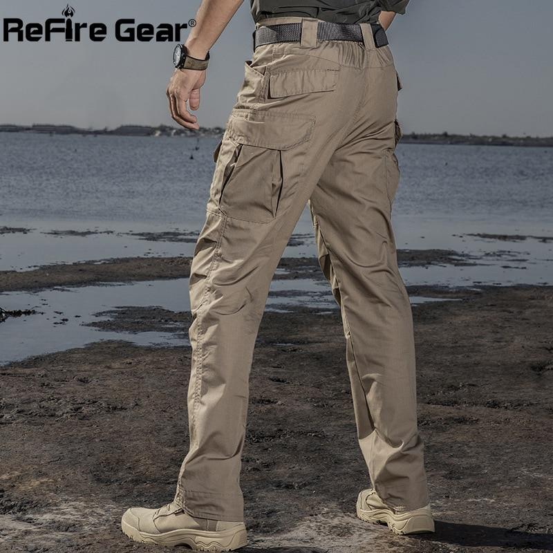 ReFire Gear IX2 Waterproof Military Tactical Pants Men Autumn Casual Rip-Stop Cotton Cargo Trouser Army Combat Multi Pocket Pant