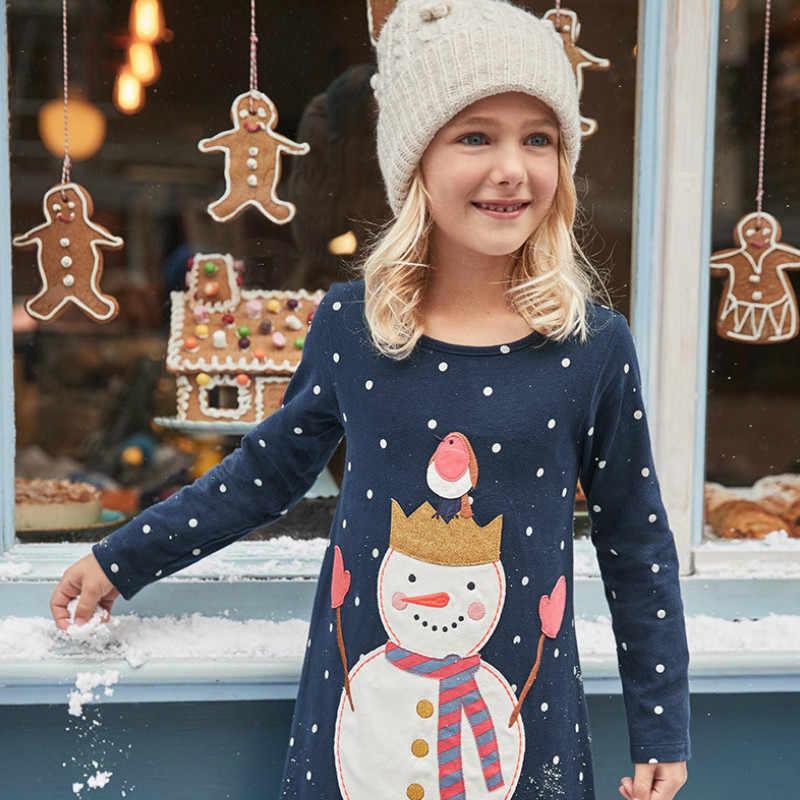 Menina vestidos de natal outono 2019 crianças manga longa dot azul marinho pulôver vestido de festa meninas o pescoço bonito vestidos casuais 2-7 t