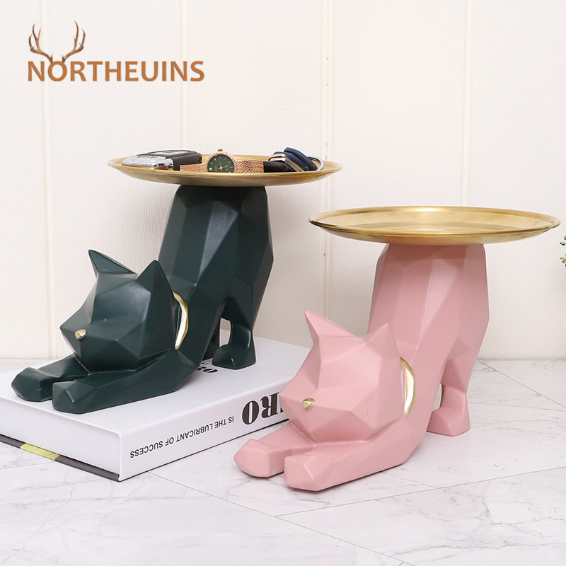 NORTHEUINS Resin Stretch Geometric Cat Storage Figurines For Interior Nordic Creative Animal Home Entrance Key Tray Decoration