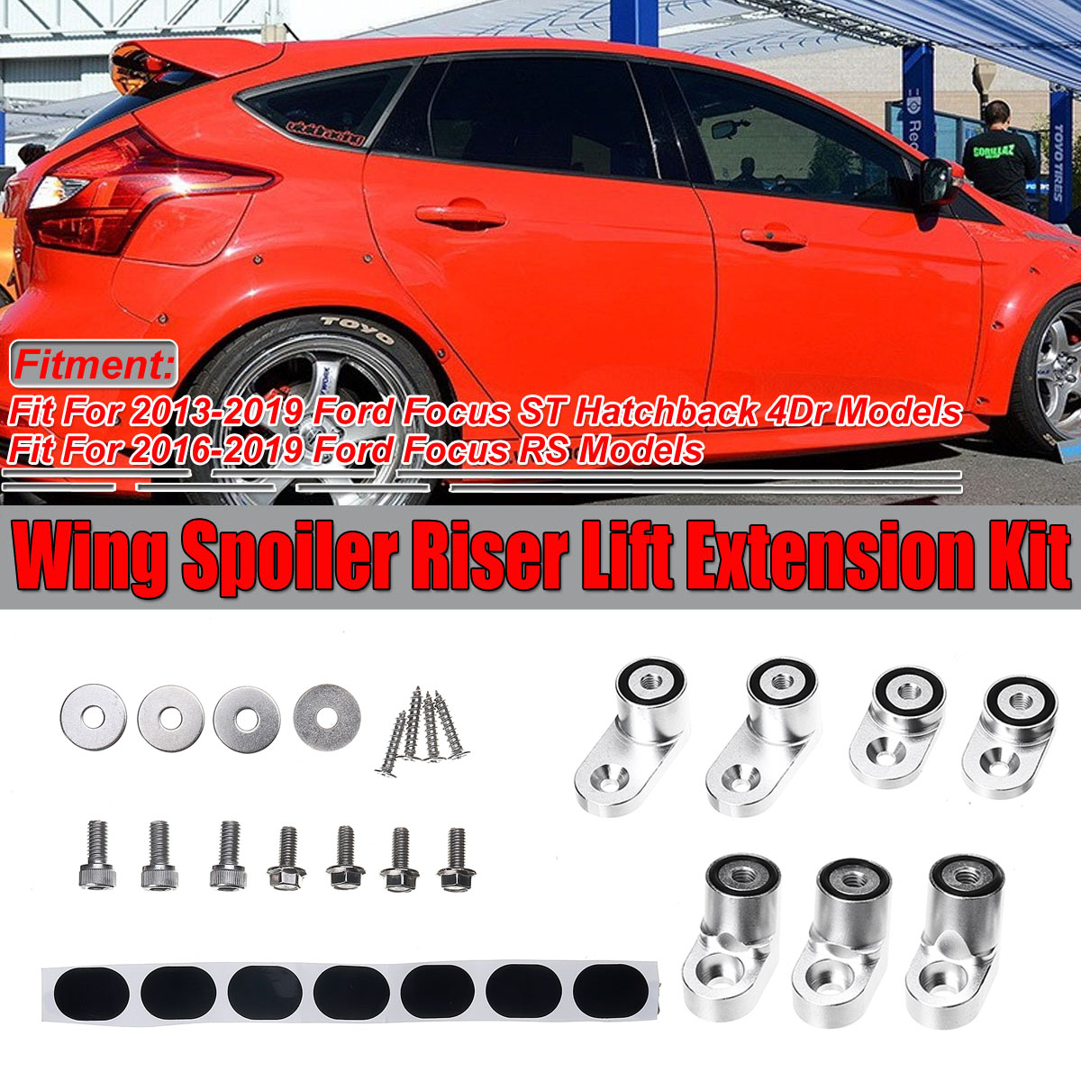Race Red Painted Rear Roof Spoiler Wing Lip Fit for Ford Focus Hatchback 12-13
