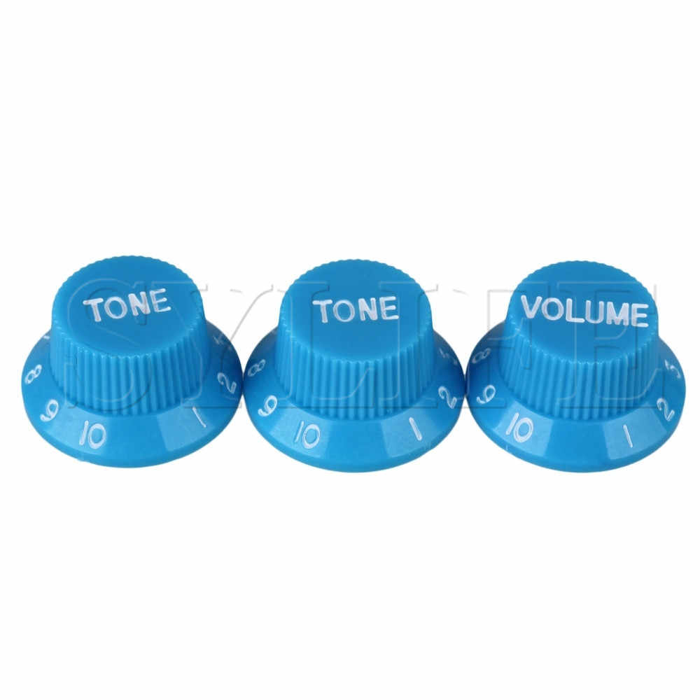 3Pcs 1 Volume 2 Tone Topi Hut UFO Bell Tombol Kontrol Biru untuk Gitar Listrik