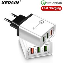 High Quality EU/US Plug 3 Ports Quick Charger QC 3.0 18W 3A Phone Fast USB Wall Charger For Apple iphone X Samsung Huawei Xiaomi(China)
