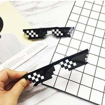 Thug Life Mosaic Glasses Sunglasses Men Women 8 Bit Coding Pixel Trendy Cool Super Party Funny Vintage Shades Eyewear