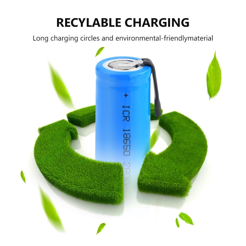 3,7 V recargable 18650 batería 2800mAh ICR 18650 Li-Ion de la batería de litio con pestañas para faro portátil antorcha