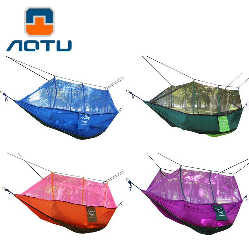 Bump Anti Mosquito Double Parachute Woven Belt Mosquito Net Hammock Safe Shatter-resistant Outdoor Camping Travel AT6730