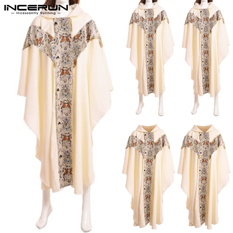 INCERUN Men Priest Costume Catholic Formal Men Church Clergy Vestments Chasuble Hooded Robe Halloween Hoodies Cosplay Costume