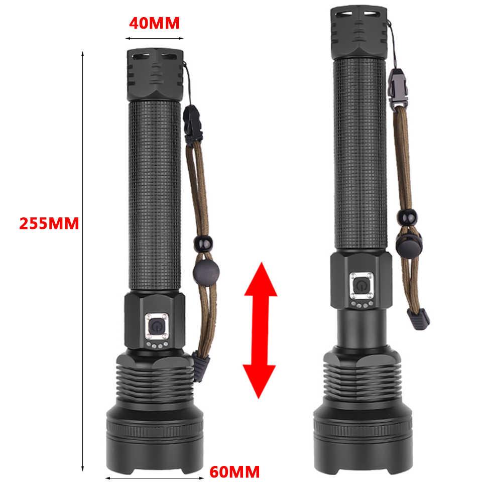 8000LM XHP70.2 potente linterna LED linterna recargable USB linterna con zoom lámpara de caza Uso de autodefensa 18650 o 26650 Z92