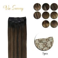 VeSunny Clip in Hair Extensions Machine Made Remy Human Hair 7pcs Double Weft Clip on Hair Balayage Ombre Highlights Dark Root