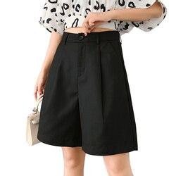 S-3XL Suits Shorts Female Harajuku High Waist Short Pants Straight Vintage Women Shorts 2020 Loose Casual Black Shorts Plus Size