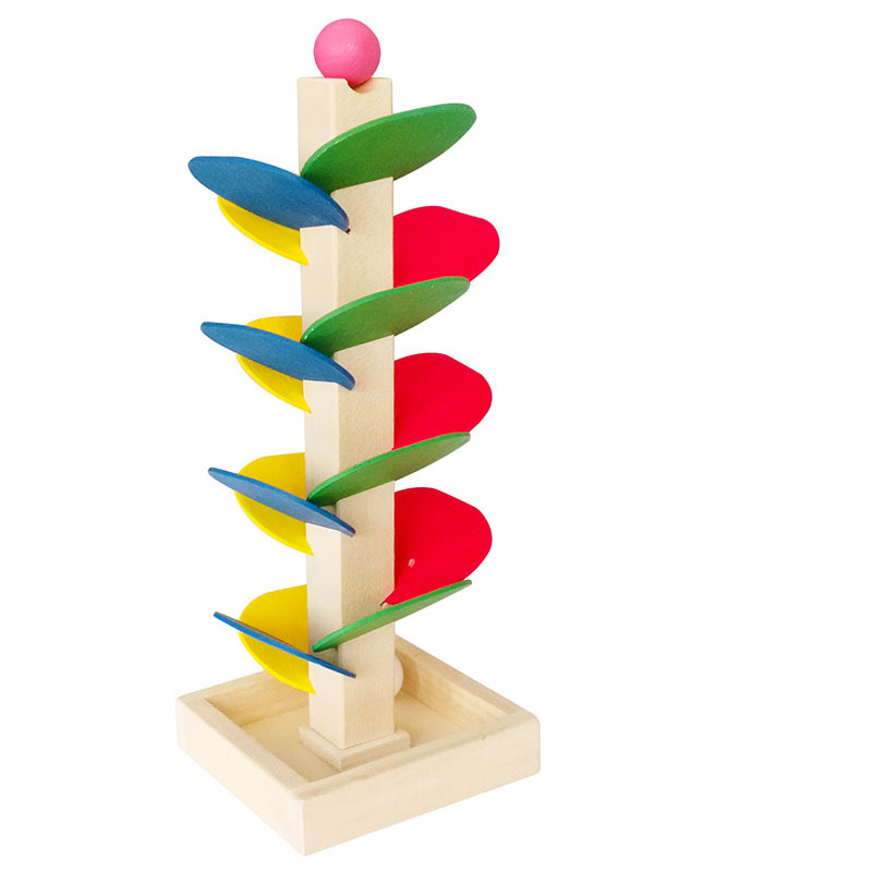Pour Bead Game / Children's Puzzle Wooden Assembly Toy / Leaf Tower Ball Game