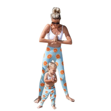 2019 2pcs Family Matching Clothes Summer Pack Orange Print Trousers + Vest T-Shirt Sleeveless O-neck Look