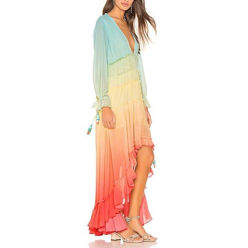 2019 femmes été arc-en-ciel dégradé bohème robe col en v à manches longues plage robe ample asymétrique maille Maxi robe - 5