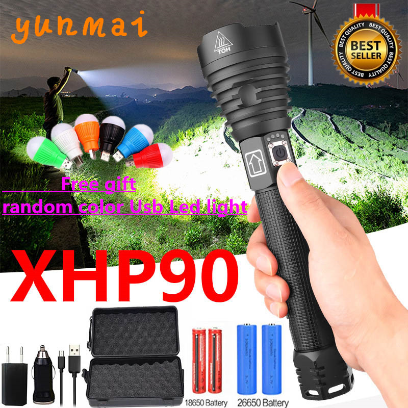 2020 Outdoor Powerful XHP90 LED Flashlight Lamp Zoom Torch 26650 USB Rechargeable Tactical Light Outdoor Camping Hunting Lamp