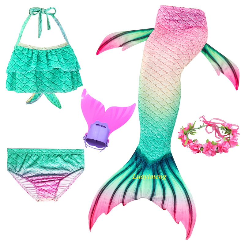 Kids Children Mermaid Swimming Suit 5pcs Mermaid Tails Swimmable Swimsuit Swimwear Bikini Sets For Girls Mermaid Costume Clothes