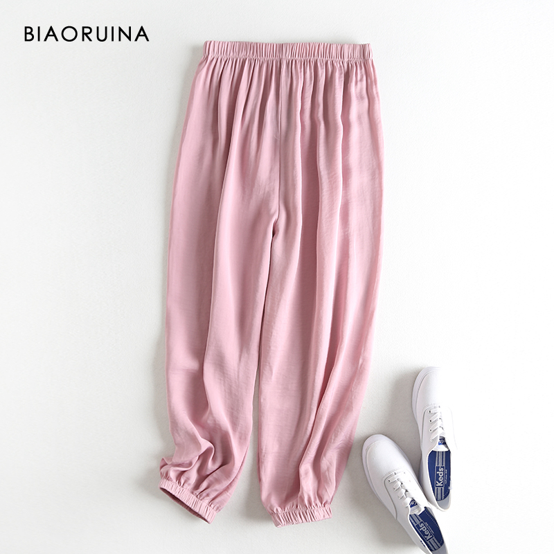 BIAORUINA 7 Color Women's Solid Basic All-match Loose Ankle-Length Pant Female Casual Everyday Lantern Pant Trousers